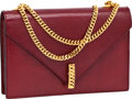 Luxury Accessories:Bags, Vintage Rouge Shiny Lizard Classic Flap Bag with Gold Chain Strapand Closure. ...