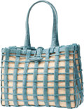 Luxury Accessories:Bags, Nancy Gonzalez Light Blue Crocodile Over Beige Canvas Bag. ...