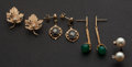 Estate Jewelry:Earrings, Four Pair Of Gold & Gem Stone Earrings. ... (Total: 4 Items)