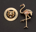 Estate Jewelry:Brooches - Pins, Two Gold Estate Animal Pins. ... (Total: 2 Items)