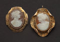 Estate Jewelry:Cameos, Two Gold Shell Cameos. ... (Total: 2 Items)
