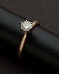 Estate Jewelry:Rings, Solitaire Diamond & Gold Ring. ...