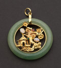 Estate Jewelry:Pendants and Lockets, Estate Gold & Jade Pendant. ...
