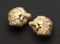 Estate Jewelry:Earrings, Lion Gold Earrings. ...