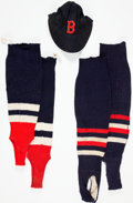 Baseball Collectibles:Uniforms, Circa 1940 Boston Red Sox Game Worn Cap & Stirrups from The Hank Severeid Collection....