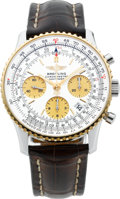 Timepieces:Wristwatch, Breitling Chronometre Navitimer Steel & Gold Automatic Chronograph. ...