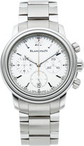 Timepieces:Wristwatch, Blancpain Ref. 2185 Steel Automatic Chronograph With Date. ...