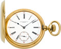 Timepieces:Pocket (pre 1900) , Patek Philippe Gold Hunters Case Pocket Watch, circa 1890. ...