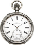 Timepieces:Pocket (post 1900), A. Lange & Sohne 59 mm .900 Silver Pocket Watch, circa 1920....