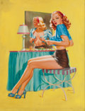 Pin-up and Glamour Art, EDWARD D'ANCONA (American, 20th Century). Getting Dressed, GoesLithography Co. calendar pin-up, circa 1945. Oil on canv...