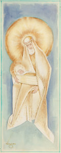Mainstream Illustration, ALBERTO VARGAS (American, 1896-1982). Madonna and Child.Mixed media on paper. 14 x 5.5 in.. Signed lower left. ...