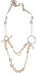 Luxury Accessories:Accessories, Lanvin Rare Cream Wood, Ribbon and Link Necklace. ...