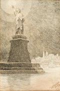 Mainstream Illustration, WINSOR MCCAY (American, 1871-1934). Statue of Liberty. Inkon board. 21 x 14 in.. Signed lower right. ...