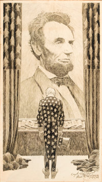 WINSOR MCCAY (American, 1871-1934) Abraham Lincoln Pen and ink on board 28 x 15.75 in. Signed