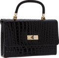 Luxury Accessories:Bags, Jacomo of Paris Black Shiny Alligator Small Flap Evening Bag. ...