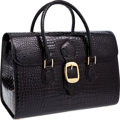 Luxury Accessories:Travel/Trunks, Gucci 1960's Rare Black Shiny Crocodile Large Weekend OvernightBag. ...