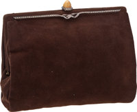 Vintage French Brown Suede Wristlet Clutch Bag with Tiger's Eye Claps