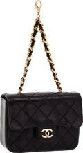Luxury Accessories:Bags, Chanel Black Quilted Lambskin Micro Mini Flap Bag Charm with GoldHardware. ...