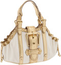 Luxury Accessories:Bags, Louis Vuitton Metallic Gold Leather and Beige Canvas Theda GM Show Bag, Retail ~$4000. ...
