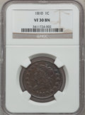 Large Cents: , 1810 1C VF30 NGC. NGC Census: (5/46). PCGS Population (7/69).Mintage: 1,458,500. Numismedia Wsl. Price for problem free NG...