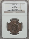 Large Cents: , 1816 1C XF45 NGC. N-8. NGC Census: (8/176). PCGS Population(7/178). Mintage: 2,820,982. Numismedia Wsl. Price for problem...