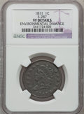 Large Cents: , 1811 1C --Environmental Damage-- NGC Details. VF. S-287. NGCCensus: (2/29). PCGS Population (10/64). Mintage: 218,025. Num...