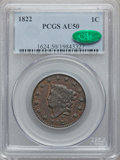 Large Cents: , 1822 1C AU50 PCGS. CAC. PCGS Population (17/55). NGC Census:(4/107). Mintage: 2,072,339. Numismedia Wsl. Price for problem...