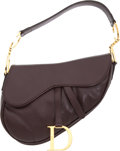 Luxury Accessories:Bags, Christian Dior Dark Brown Leather Classic Saddle Bag with SilverHardware. ...
