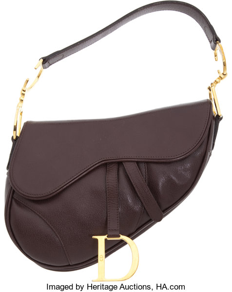 Dior Dark Brown Leather Classic Saddle Bag With