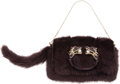 Luxury Accessories:Bags, Gucci by Tom Ford Stunning Deep Purple Mink Dragon Evening Bag andRemovable Crystal Strap. ...