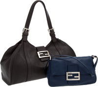 Set of Two: Fendi Chocolate Brown Nappa Leather Classic Tote Bag and Fendi Midnight Blue Nappa Leather Mamma Baguette...