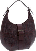 Luxury Accessories:Bags, Fendi Rare Dark Brown Tooled Leather Western Hobo Bag. ...