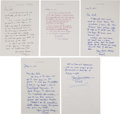 Basketball Collectibles:Others, Oral Roberts Handwritten, Signed Letters to Coach Dale Brown Lot of5....