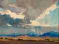 Fine Art - Painting, American:Modern  (1900 1949)  , OLIVER DENNETT GROVER (American, 1861-1927). Storm over aWestern Landscape, 1924. Oil on canvas laid on masonite.11-1/...