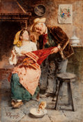 Fine Art - Painting, European:Modern  (1900 1949)  , EUGENIO ZAMPIGHI (Italian, 1859-1944). Follies of Old Age.Watercolor on board. 21-1/2 x 14-1/2 inches (54.6 x 36.8 cm)...