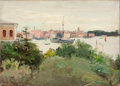 Fine Art - Painting, American:Modern  (1900 1949)  , OLIVER DENNETT GROVER (American, 1861-1927). Italian Landscapewith Moored Boats, 1913. Oil on canvas. 9-1/2 x 13-1/2 in...