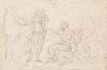Fine Art - Work on Paper:Drawing, Circle of OTTAVIANO DANDINI (Italian, d. 1750). MythologicalScene (recto) and Figure Study by another hand(verso)...