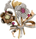 Estate Jewelry:Brooches - Pins, Retro Colored Diamond, Diamond, Ruby, Gold Clip-Brooch. ...