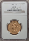 Liberty Eagles, 1860 $10 XF45 NGC....