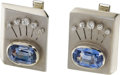 Estate Jewelry:Cufflinks, Gentleman's Sapphire, Diamond, White Gold Cuff Links. ...