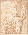 Fine Art - Work on Paper:Drawing, School of GERARD DE LAIRESSE (Flemish, 1641-1711). Pomona andHippocrates. Sepia ink and grey wash on paper laid on a se...