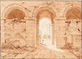 Works on Paper, School of HUBERT ROBERT (French, 1733-1808). Roman Ruins with Figures. Graphite and brown ink and wash on buff paper lai...