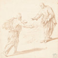 Works on Paper, ITALIAN SCHOOL (17th/18th Century). Temptation of Christ. Brown ink and wash on laid buff paper mounted to a second shee...