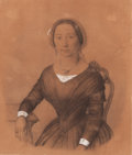 Fine Art - Work on Paper:Drawing, SWEDISH SCHOOL (19th Century). Portrait of a Seated Woman,1847. Black and white chalk on brown paper. 9-3/4 x 8-1/4 inc...