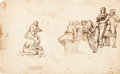Fine Art - Work on Paper:Drawing, ITALIAN SCHOOL (17th Century). The Wedding at Cana and MaryMagdalene Washing Christ's Feet (Bearded Head verso).Gr...