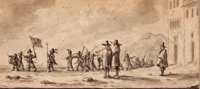 Attributed to PALAMEDES PALAMEDESZ (Dutch, 1607-1638) Military Procession Pen, ink, and wash on pape