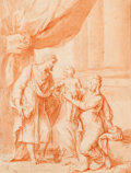 Fine Art - Work on Paper:Drawing, Attributed to GODFRIED MAES (Flemish, 1649-1700). The HolyFamily. Pen and brown wash on paper partially laid on asecon...