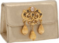 Luxury Accessories:Bags, Mary Norton Moo Roo Champagne Metallic Bag with Intricate Closure....
