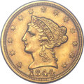 Liberty Quarter Eagles, 1844-C $2 1/2 MS61 PCGS. CAC. Variety 1....