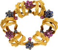 Estate Jewelry:Brooches - Pins, Ruby, Sapphire, Gold Brooch. ...
